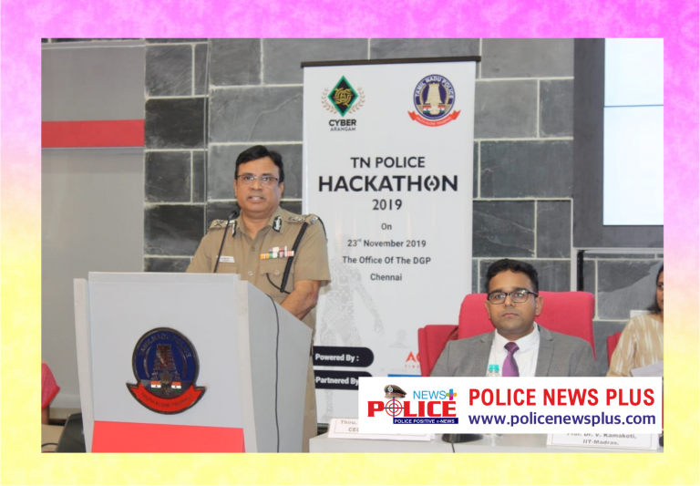 Tamil Nadu DGP J.K.Tripathy gave prizes to the Cyber Hackathon Competition winners