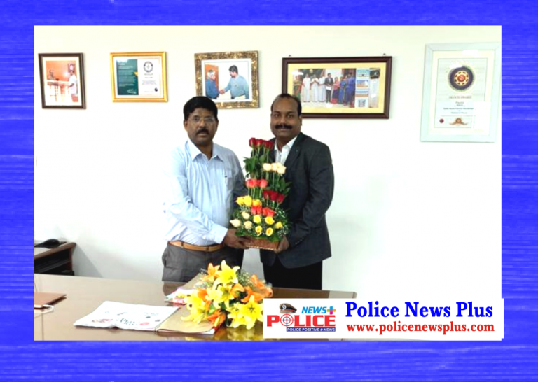 """SKOTCH Awards"" (Gold) received by DGP Pradeep v Philip, IPS, congratulated by Chief Editor Mr. A. Charles on behalf of Police News Plus Citizen Reporters"