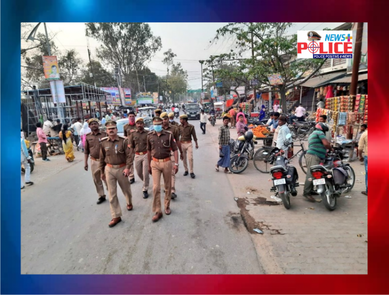 Barabanki police patrolled to maintain law and order