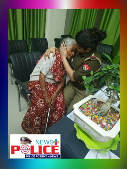 Manipur woman Police comforts an elderly woman who came to the Police station in distress