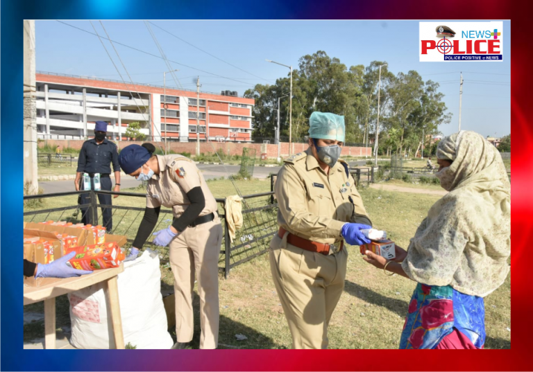 Chandigarh Police distributed sanitary napkins and juice to the needy people