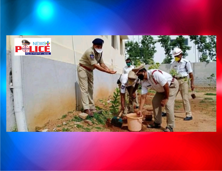 Siddipet Traffic ACP Mr. Balaji IPS and staff planted in the premises of Siddipet Traffic Police Station as part of Sixth Edition Greenhouse