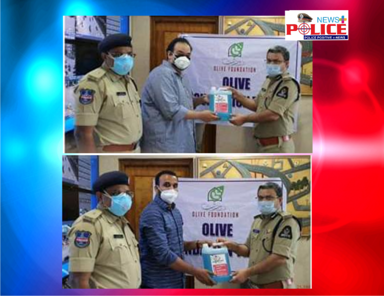 Olive foundation donated Hand Sanitizers to Mr. Anil Kumar, IPS., for the Traffic Police