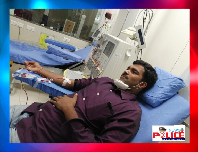 Mr. Srinivas Inspector of Police saved life by donating blood